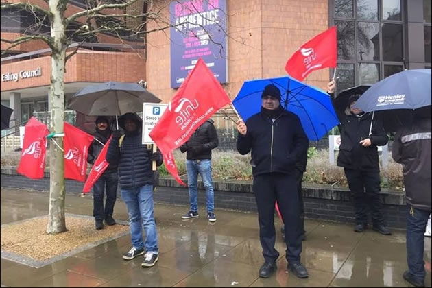 Serco employees protesting outside Ealing Town Hall last year